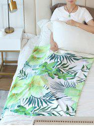 Leaf Flower Print Flannel Soft Bed Blanket -