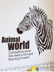 Zebra Animal World Printed Removable Wall Sticker -