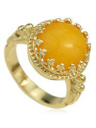Hollow Round Artificial Gem Ring -