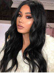 Middle Part Long Wavy Human Hair Wig -