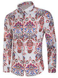 Vintage Blooming Flower Print Long Sleeve Casual Shirt -