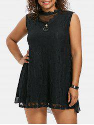 Plus Size Mock Neck Mini Shift Dress -
