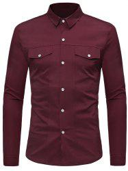 Solid Color Faux Pockets Button Up Shirt -