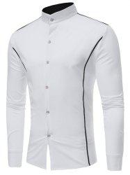 Casual Contrast Color Stand Collar Shirt -