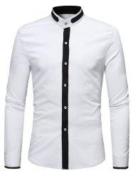 Casual Stand Collar Contrast Color Shirt -