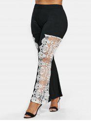 Plus Size Cutwork Lace Flare Leggings -