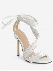 Stiletto Heel Lace Up Ruffles Ankle Strap Sandals -