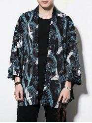 Red-crowned Crane Print Casual Sun-proof Kimono Cardigan -