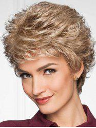 Short Side Bang Layered Slightly Curly Synthetic Wig -