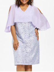 Plus Size Cold Shoulder Lace Popover Dress -