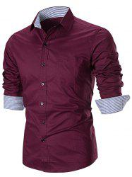 Stripe Splicing Turn Down Collar Edging Button Down Shirt -
