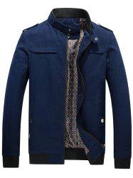 Zip Up Epaulet Design Stand Collar Jacket -