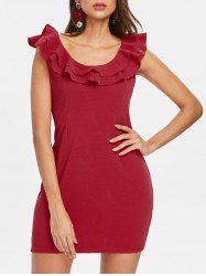 Flounce Trim Back Cut Out Bodycon Dress -