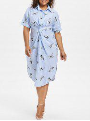 Plus Size Striped Crane Shirt Dress -