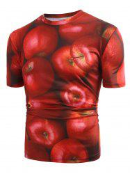 3D Apple Print Short Sleeve T-shirt -