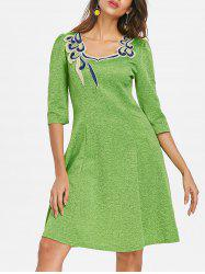 Embroidered A Line Dress -