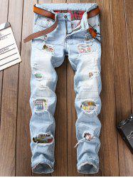 Ripped Hole Patch Straight Jeans -