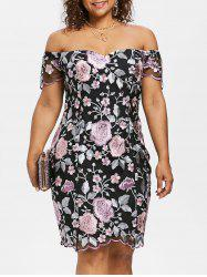 Off The Shoulder Plus Size Floral Embroidery Dress -