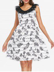 Lace Butterflies Musical Note Flare Dress -