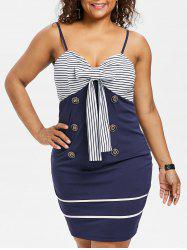 Plus Size Bow Bust Striped Cami Dress -