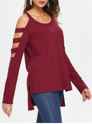 Cut Out Asymmetrical Ribbed T-shirt -