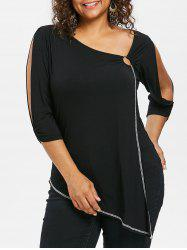 Plus Size Skew Collar Slit Sleeve T-shirt -