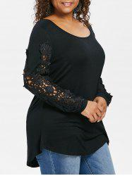 Plus Size Cutwork Lace Appliqued T-shirt -