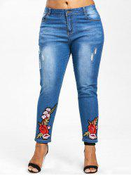 Floral Embroidery Plus Size Straight Jeans -