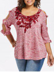 Plus Size Bowknot Cut Marled T-shirt -