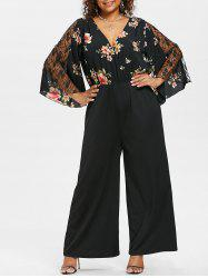 Plus Size Flare Sleeve Wide Leg Jumpsuit -