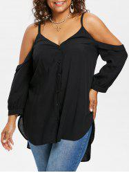 Plus Size Cold Shoulder High Low Top -