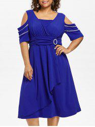 Plus Size Open Shoulder Embellished Surplice Dress -