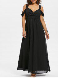 Open Shoulder Plus Size Empire Waist Maxi Dress -