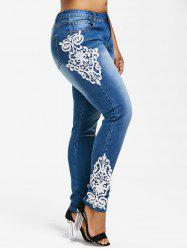 Plus Size Appliqued Pencil Jeans -