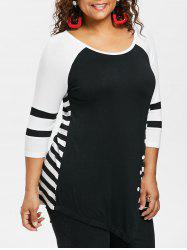 Plus Size Striped Asymmetric T-shirt -