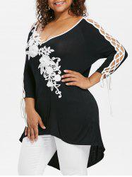 Rosegal Plus Size Lace Up High Low Hem T-shirt -