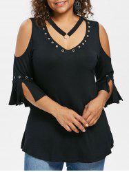 Plus Size Grommets Detail V Neck T-shirt -