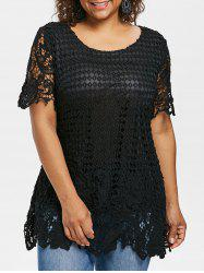Plus Size Cutwork Lace Blouse -
