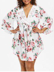 Drawstring Waist Plus Size Floral Print Dress -