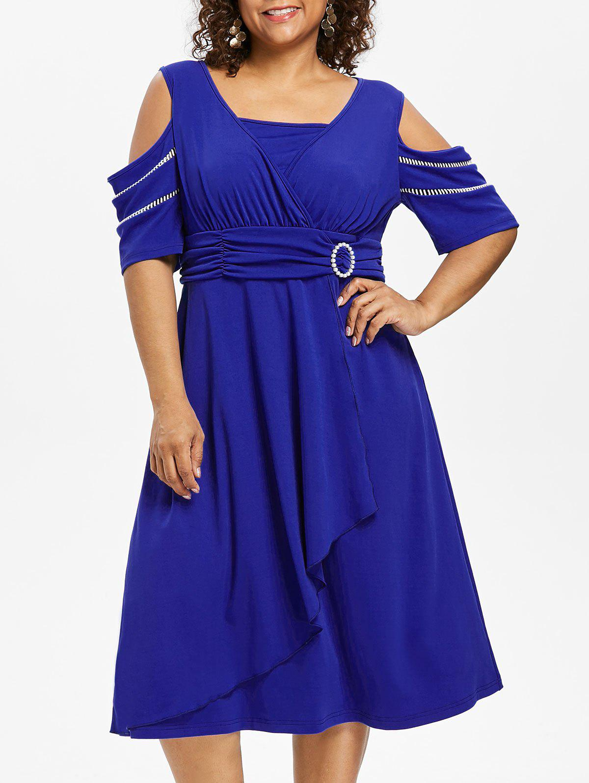 Trendy Plus Size Open Shoulder Embellished Surplice Dress