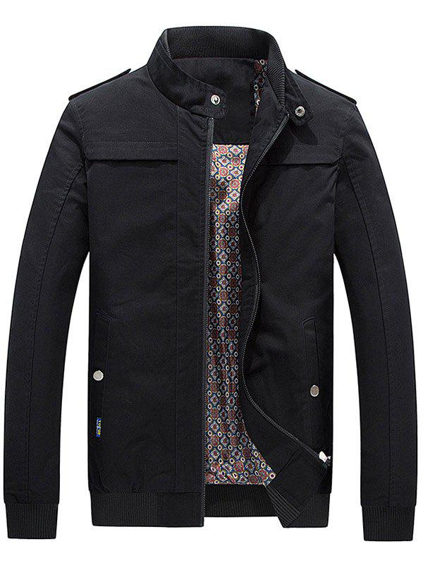 Fancy Zip Up Epaulet Design Stand Collar Jacket