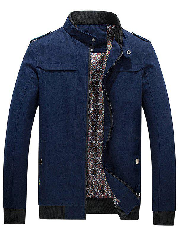 Latest Zip Up Epaulet Design Stand Collar Jacket