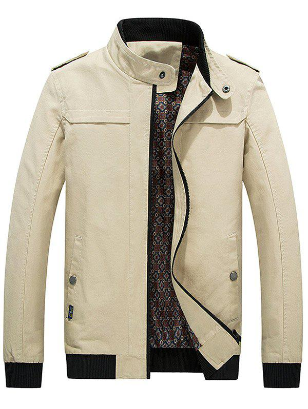 Outfit Zip Up Epaulet Design Stand Collar Jacket