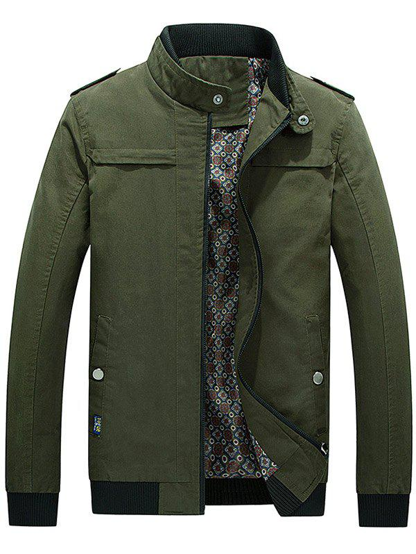 Unique Zip Up Epaulet Design Stand Collar Jacket