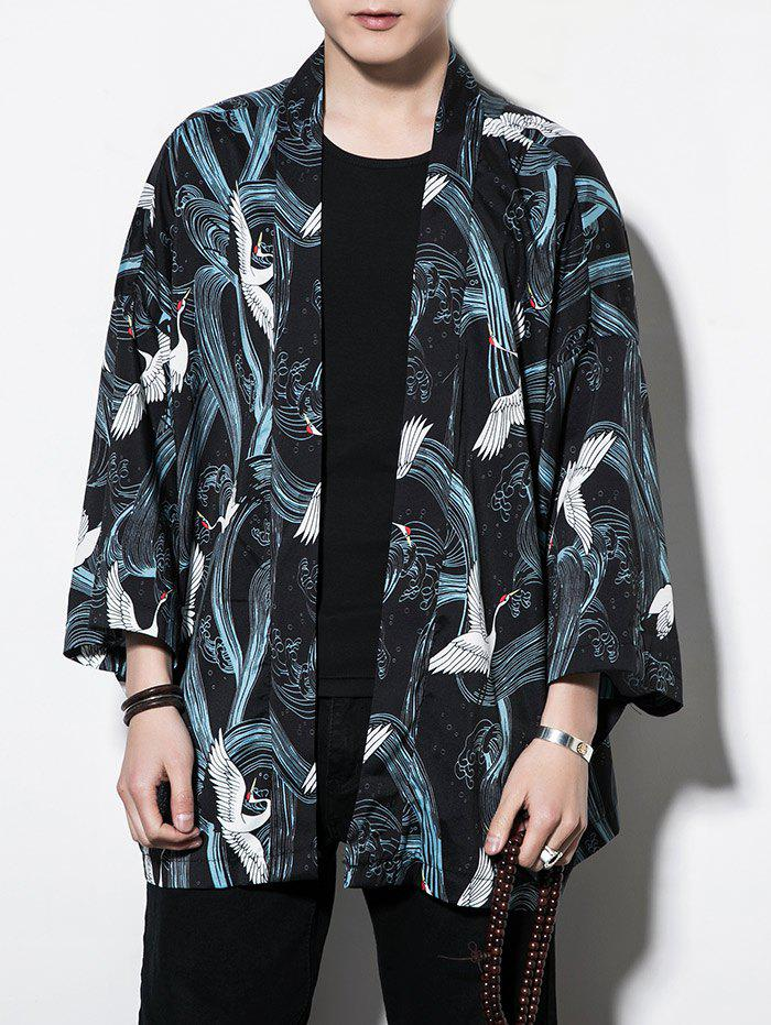 Shop Red-crowned Crane Print Casual Sun-proof Kimono Cardigan