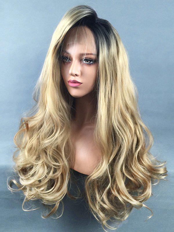 Cheap Long Side Bang Colormix Wavy Lace Front Synthetic Wig