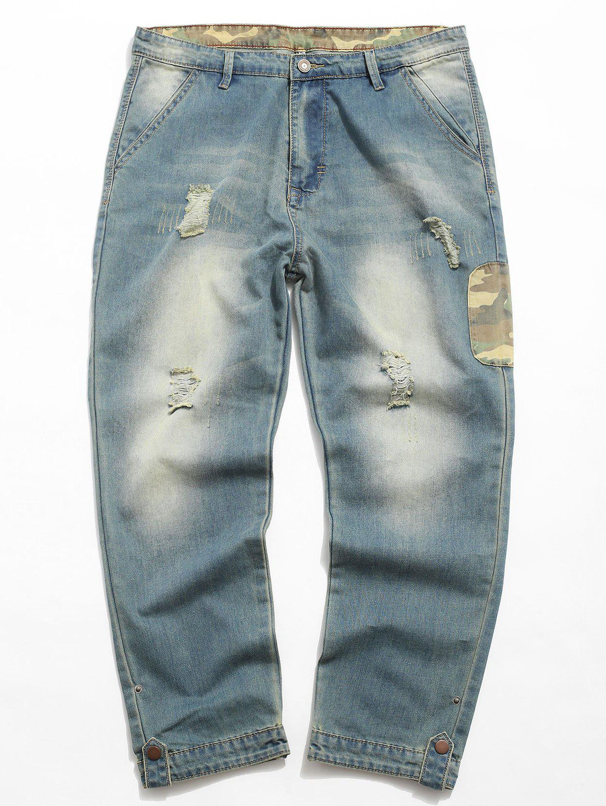 Cheap Destroyed Camouflage Panel Zip Fly Jeans