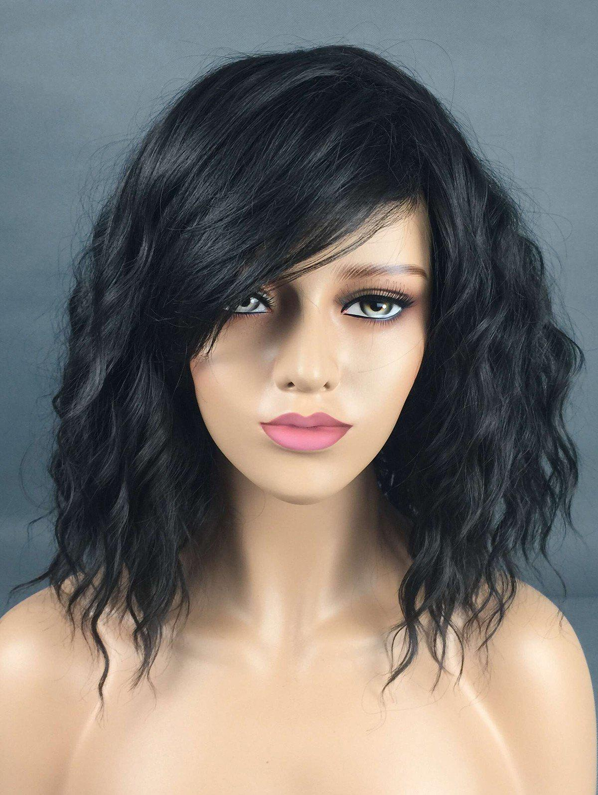 Online Medium Inclined Bang Natural Wavy Synthetic Wig