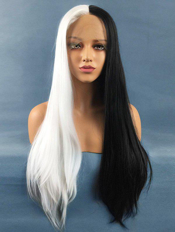 Buy Long Center Parting Straight Two Tone Lace Front Synthetic Wig