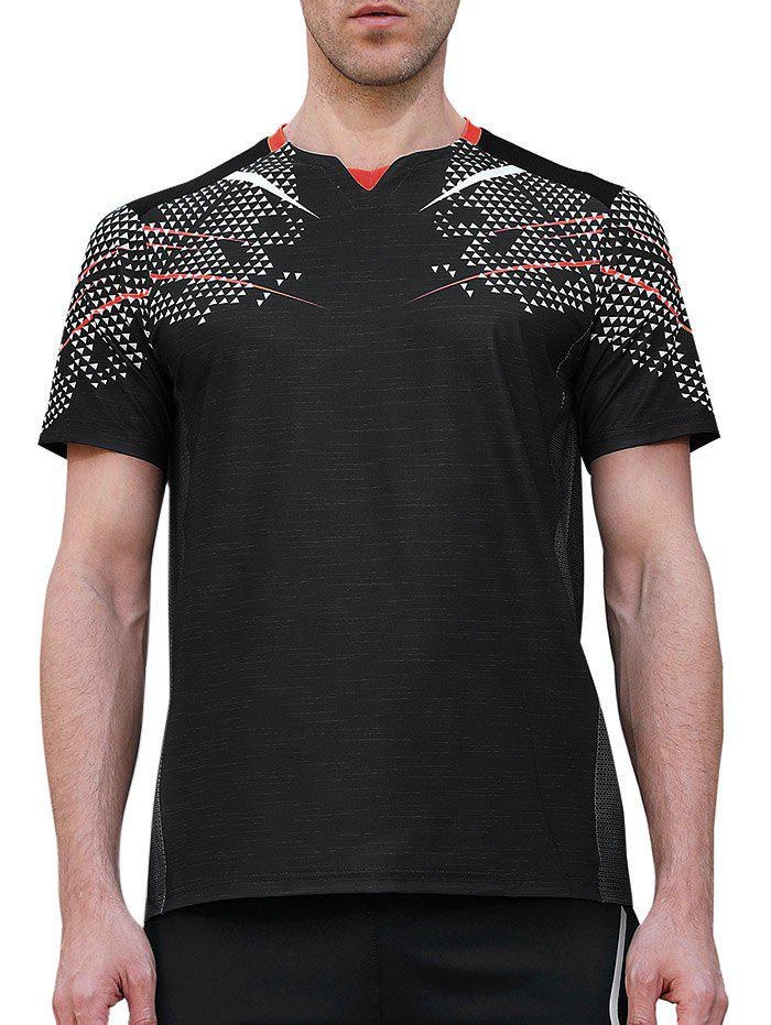 Trendy Netty Back Quick Dry Geometric Print  Sports T-shirt